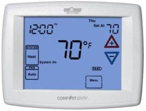 comfort sentrytm 3 2 touchscreen programmable thermostat rh onehourproducts com Comfort Sentry Thermostat Operating Manuals comfort sentry thermostat owner's manual